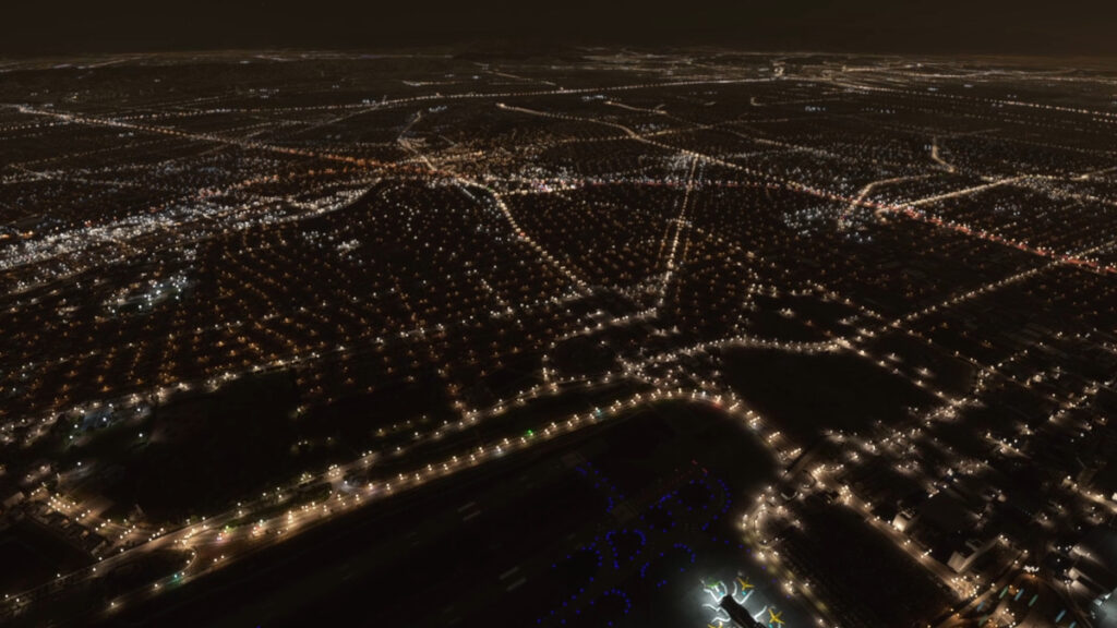 a bird view on a virtual Los Angeles by night over an airport