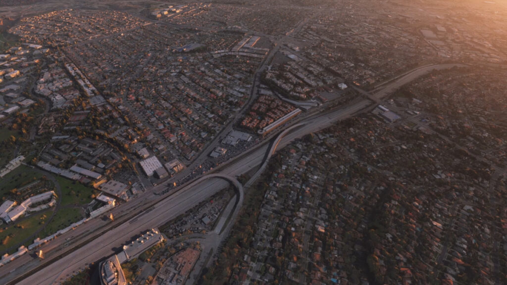 a bird view on a virtual Los Angeles