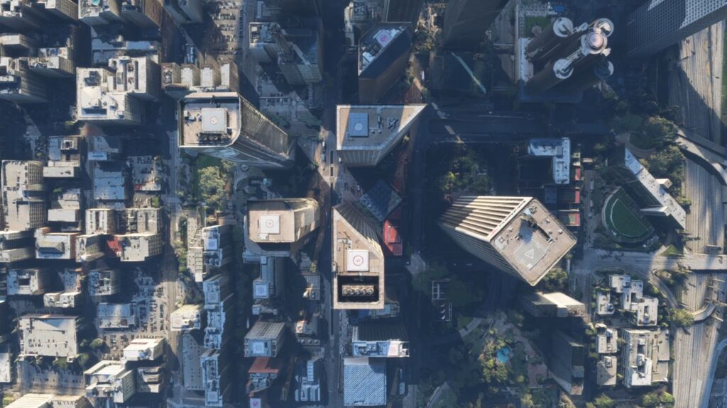 A zenital bird view on a series of skyscrapers in a virtual Los Angeles