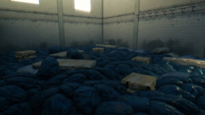 An huge amount of blue garbage bags and several mattresses