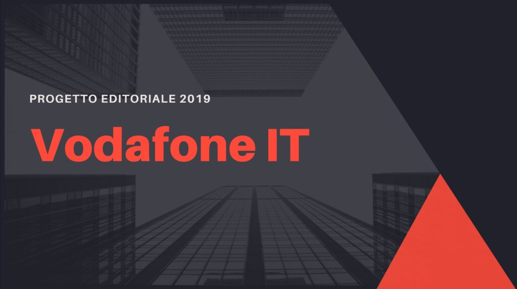 """a dark slide with red elements with """"Vodafone editorial plan 2019"""" title"""